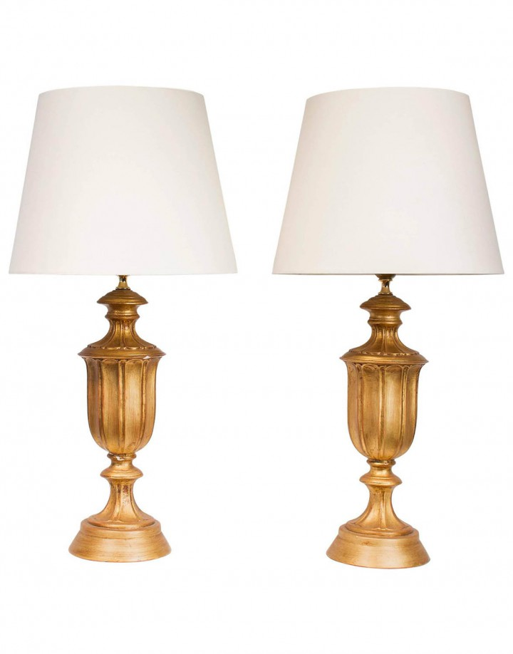 Pair of Hollywood Regency Gilded Plaster Table Lamps