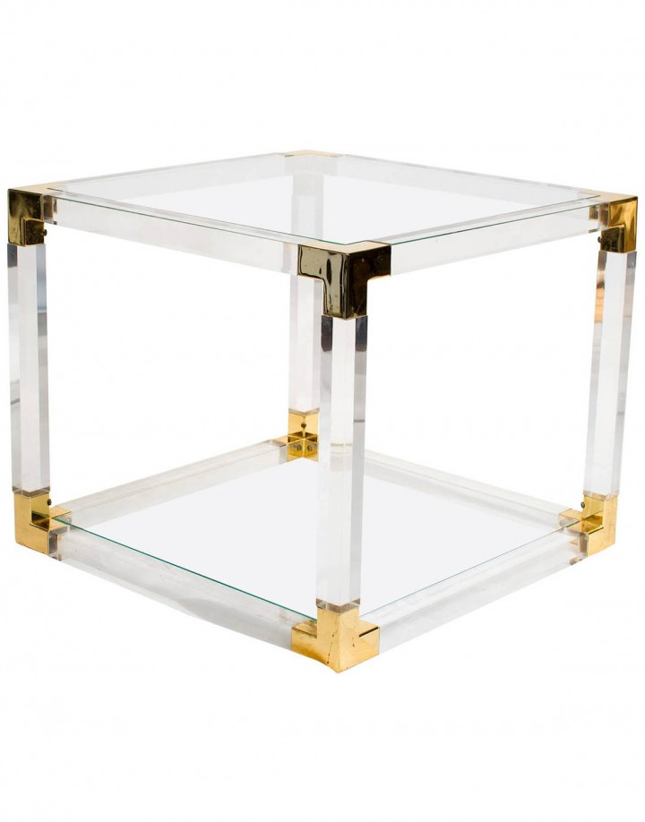 French Lucite and Brass Side or Coffee Table
