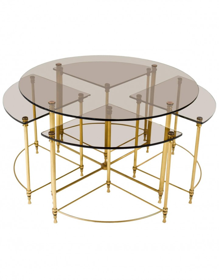 French Neoclassic Nesting Tables Ensemble with Clear Glass