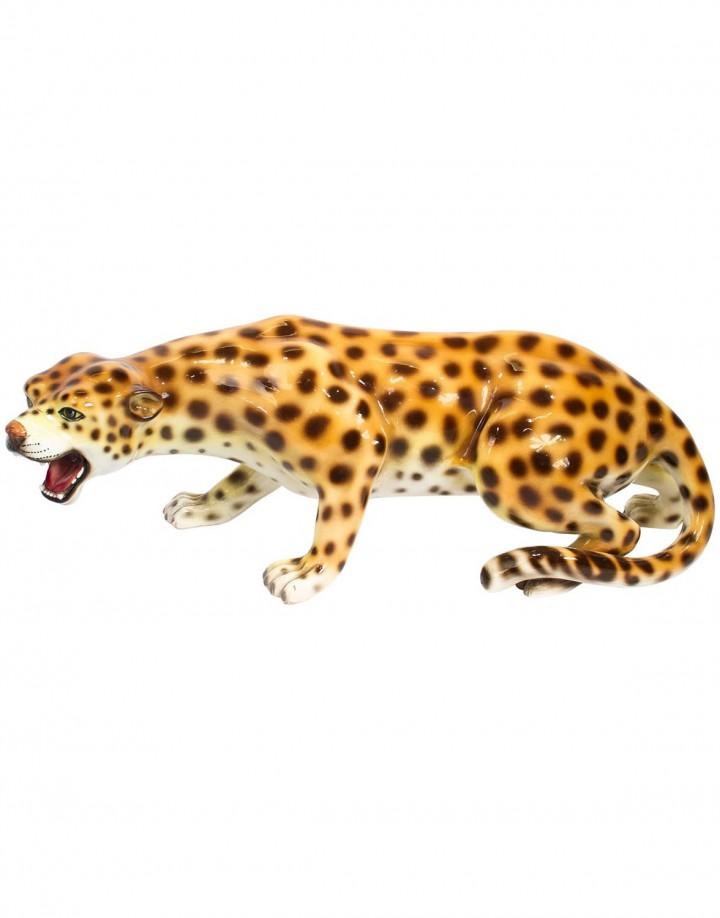 Large Italian Mid-Century Modern Ceramic Cheetah Sculpture