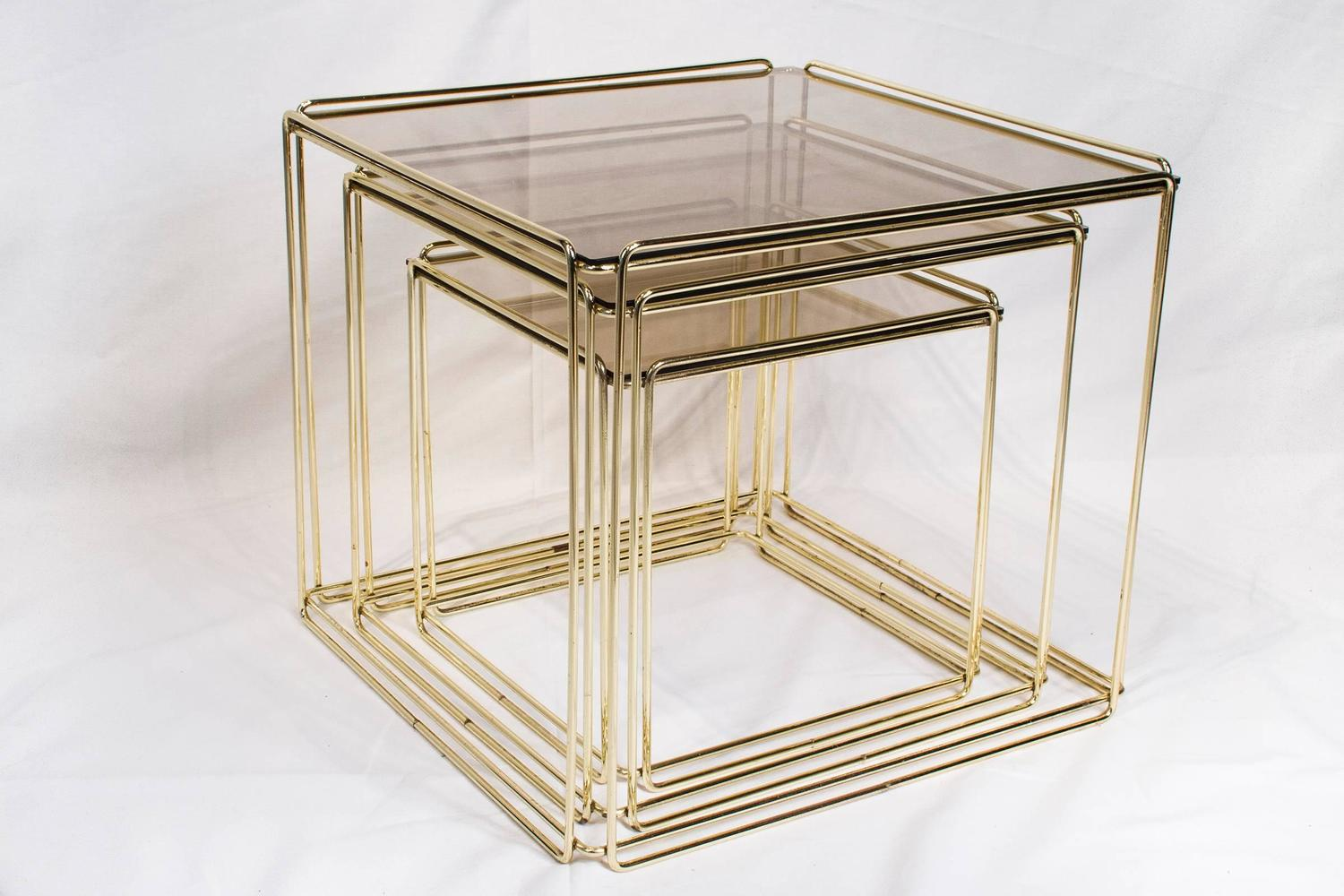 Set Of Three Nesting Tables By Max Sauze France, 1970s Gold Metal And Glass