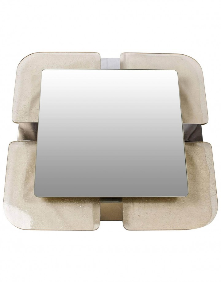 Backlit Chrome and Smoked Lucite Mirror
