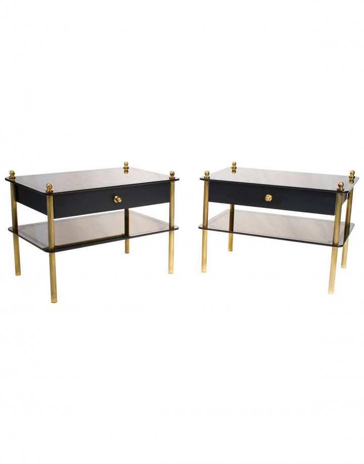 Pair of French Mid-Century Modern Mirrored Nightstands