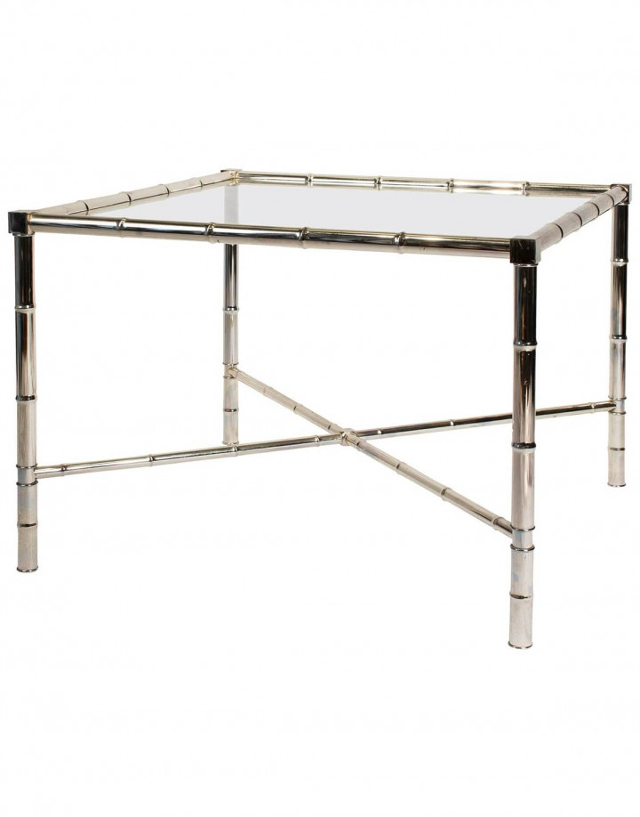 Chrome Faux Bamboo X-Base End Table with Glass Top