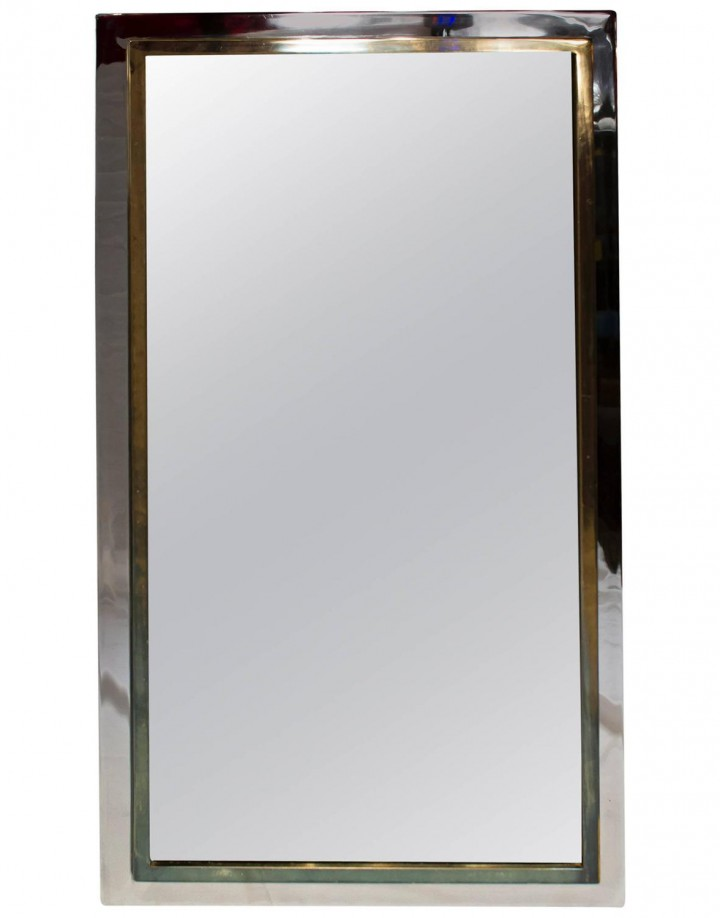 French Mid-Century Modern Chrome and Laquered Gold Mirror