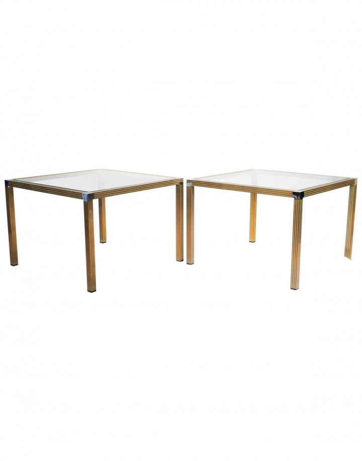 Pair of Striped Brass and Chrome Side Tables with Glass Top