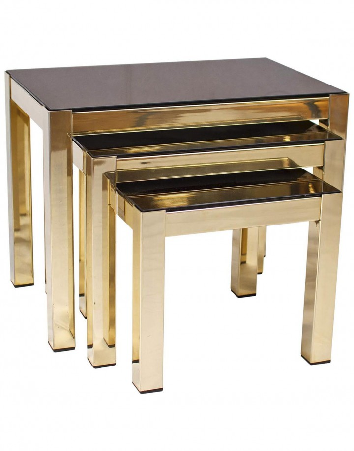 Rare 23-Carat Gold-Plated Nesting Tables with Copper Mirror Tops by Belgochrome