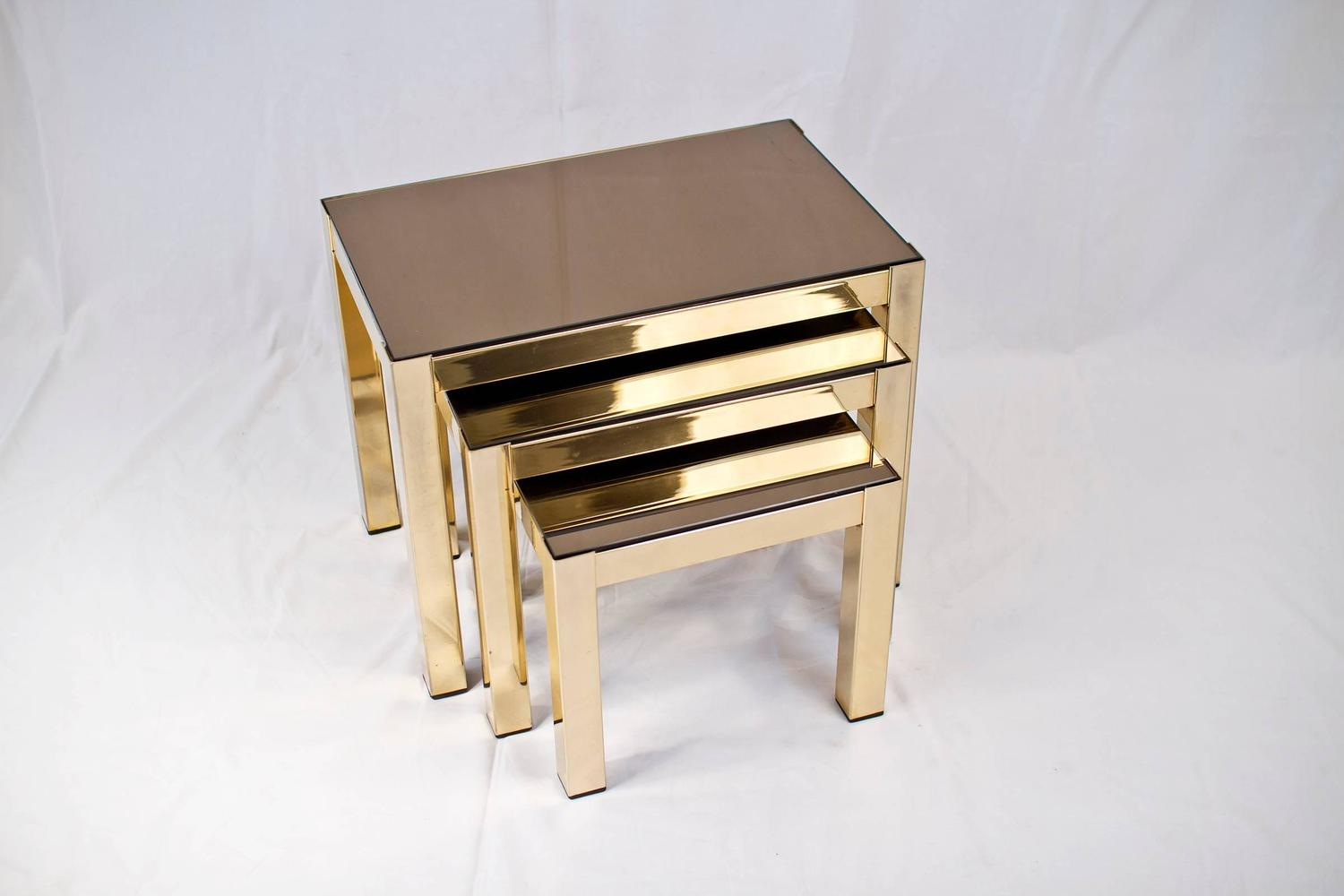 Rare 23 Carat Gold Plated Nesting Tables With Copper Mirror Tops By  Belgochrome