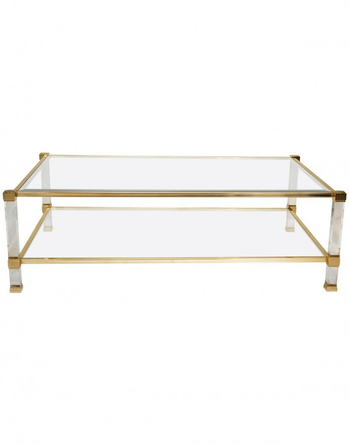 Lucite And Brass Coffee Table Joevin Ortjens Galerie