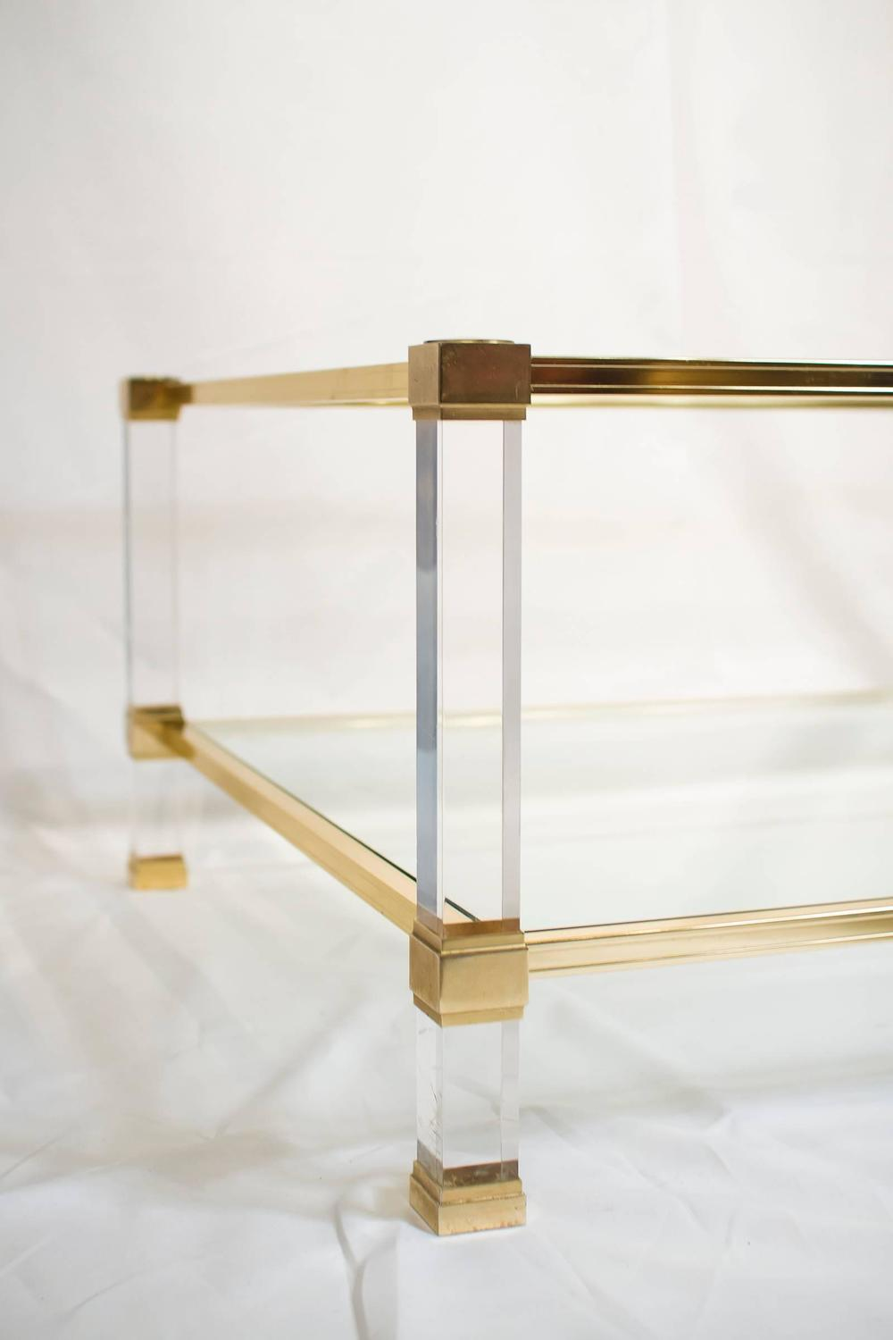 Lucite and brass coffee table joevin ortjens galerie for Lucite and brass coffee table