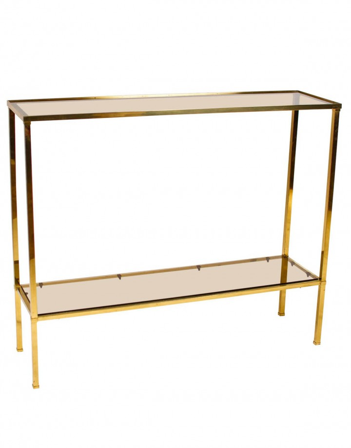 French Brass Console Table with Smoked Glass