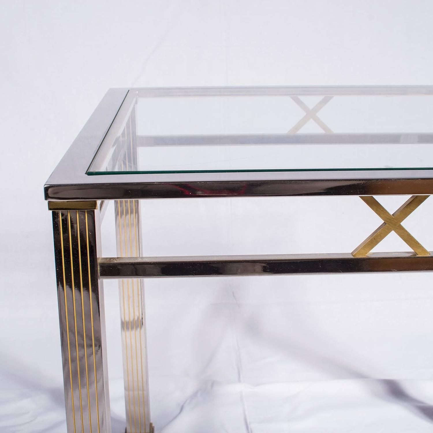 Chrome and glass coffee table joevin ortjens galerie Glass coffee and end tables