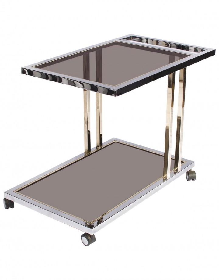 23-Carat Gold-Plated and Chrome Bar Cart by Belgo Chrome, Belgium