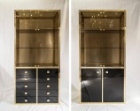 Pair of Rare 23-Carat Gold-Plated Vitrines by Belgochrome