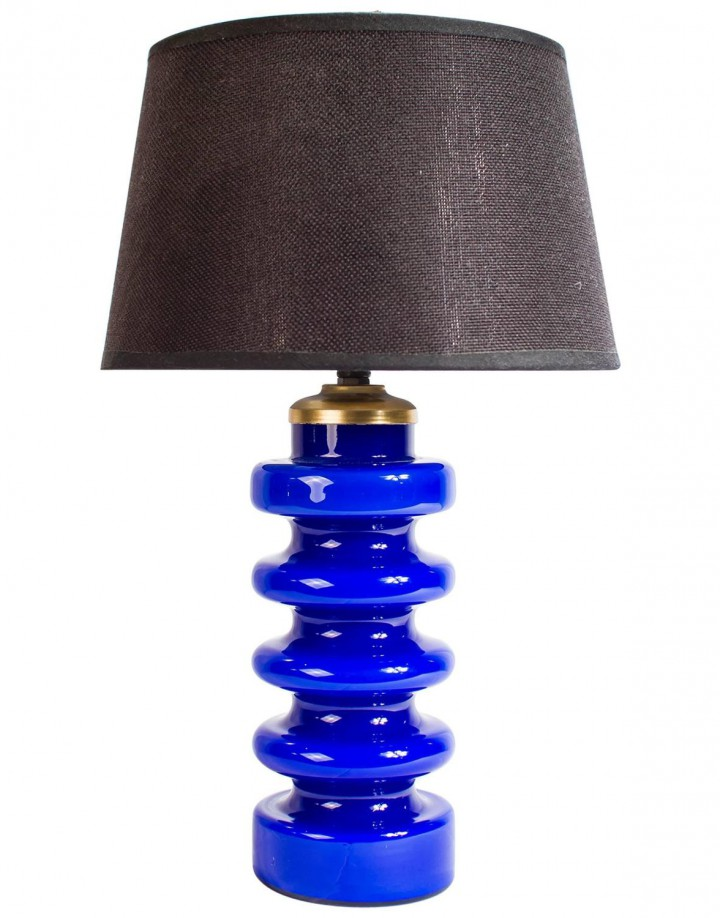 Murano Blue Colored Opaline Glass Table Lamp