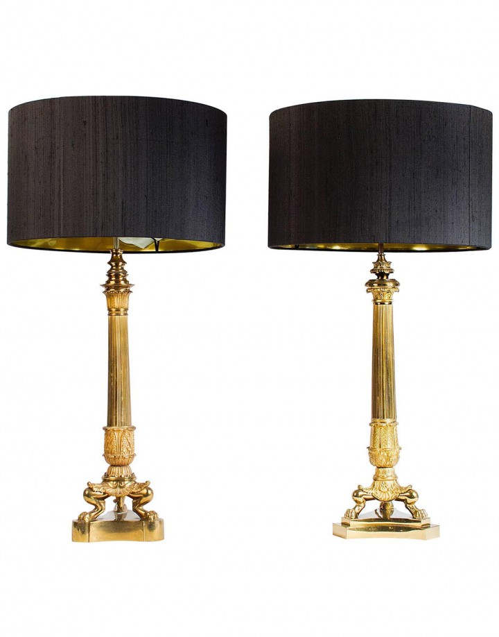 Grand Ensemble of Empire Style Triple Lion Paw Gilded Table Lamps