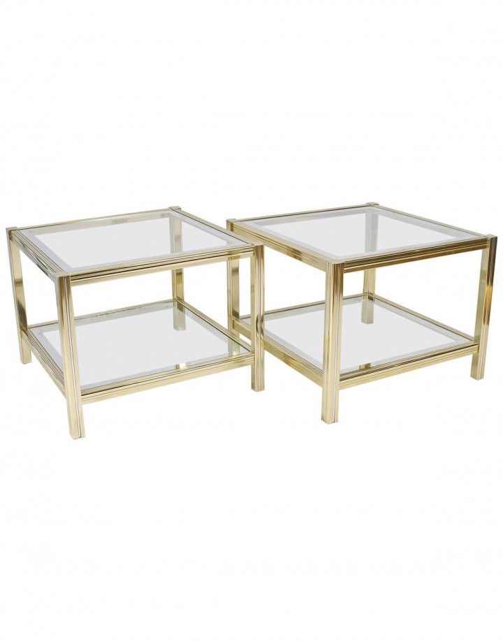 Pair of French Mid-Century Brass and Chrome Side Tables