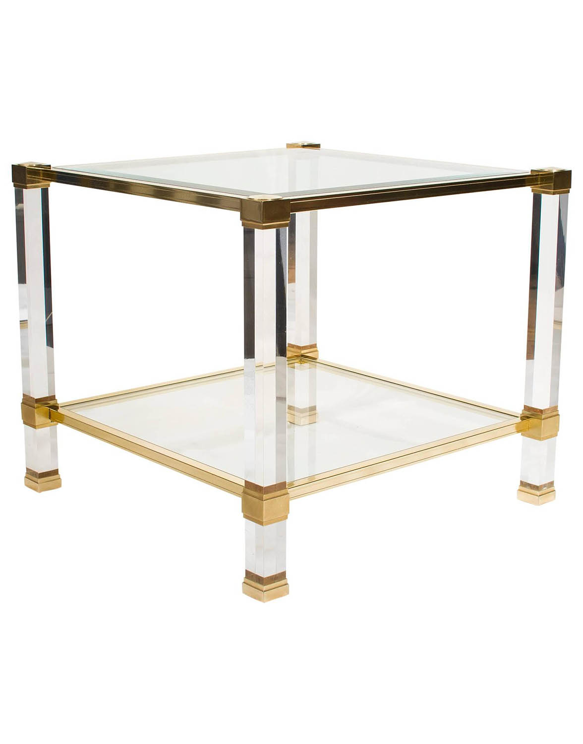 Lucite and brass side table joevin ortjens galerie for Cocktail tables rental singapore