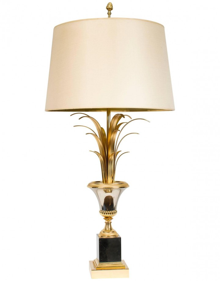 Pineapple Brass and Chrome Lamp Attributed to Maison Charles