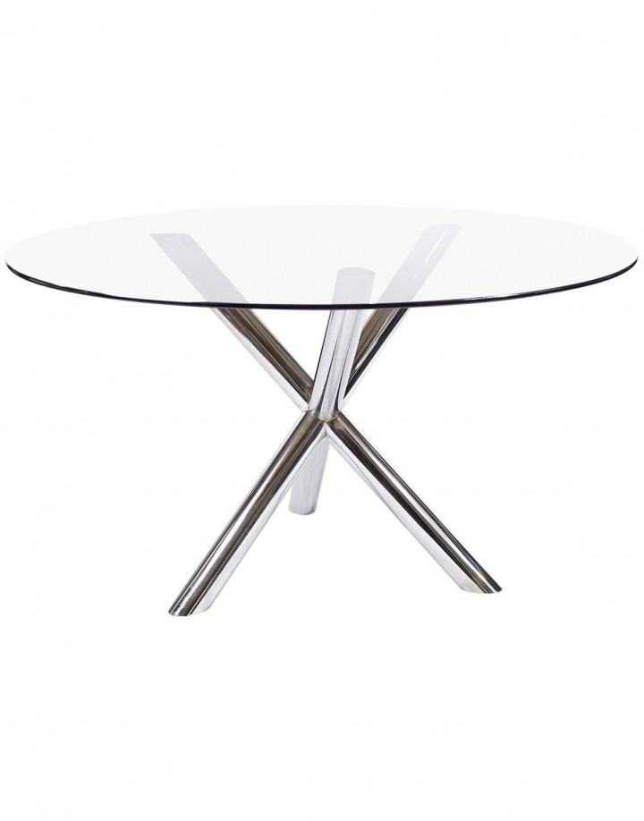 Chrome Jack Glass-Top Dining Table