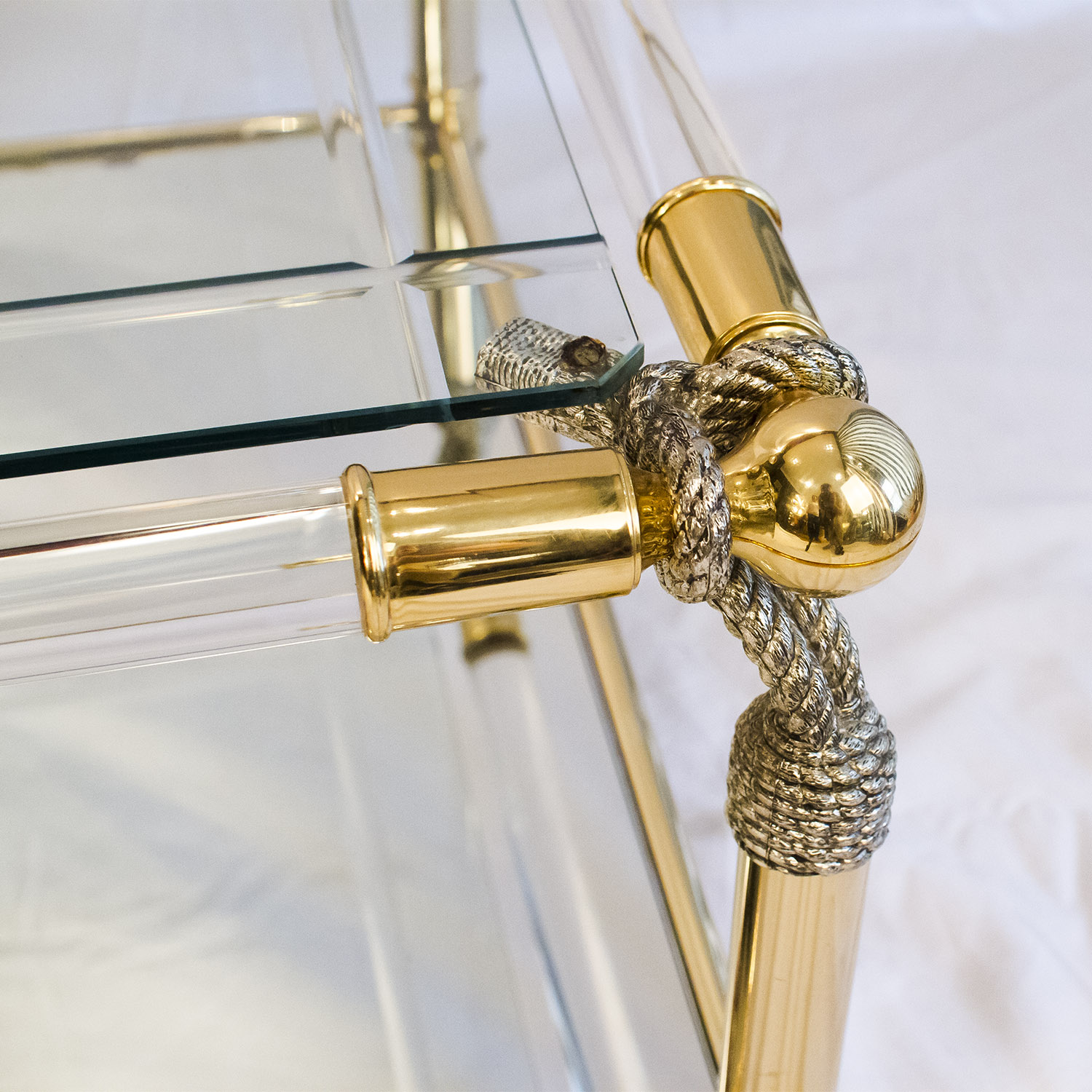 Brass & Lucite table with Rope Details