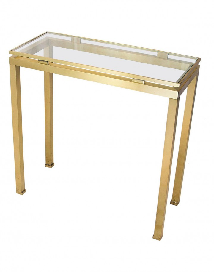 Golden Brushed Steel Console by Guy Lefevre for Maison Jansen