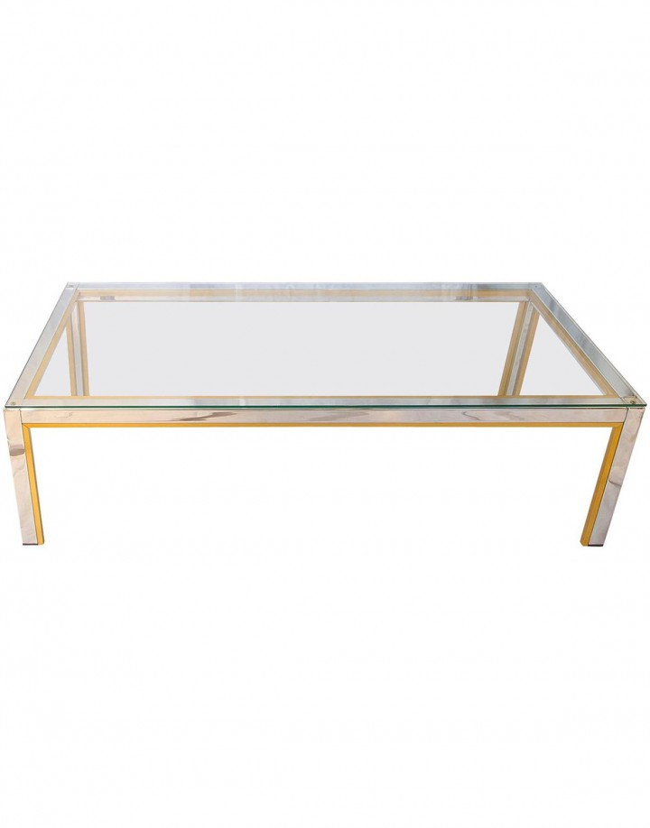 Chrome and Brass Table by Romeo Rega