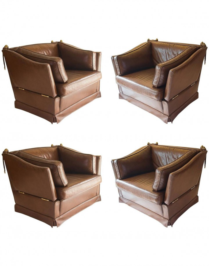Four Knole Leather Lounge Chairs in the Style of Maison Jansen