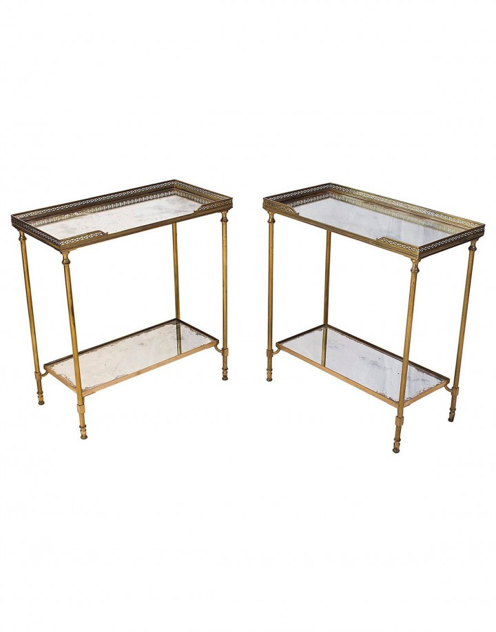 Pair of Two Side Tables Attributed to Maison Jansen