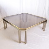 60_Chrome and brass sofa table
