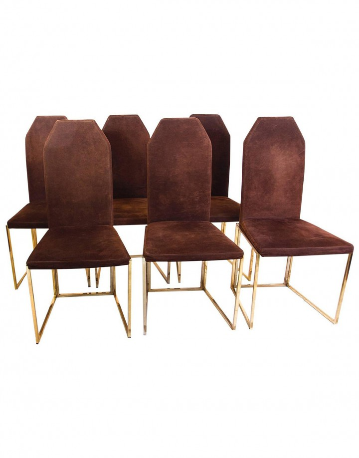 Six Golden Lacquered Steel and Suede Chairs by Belgo Chrome