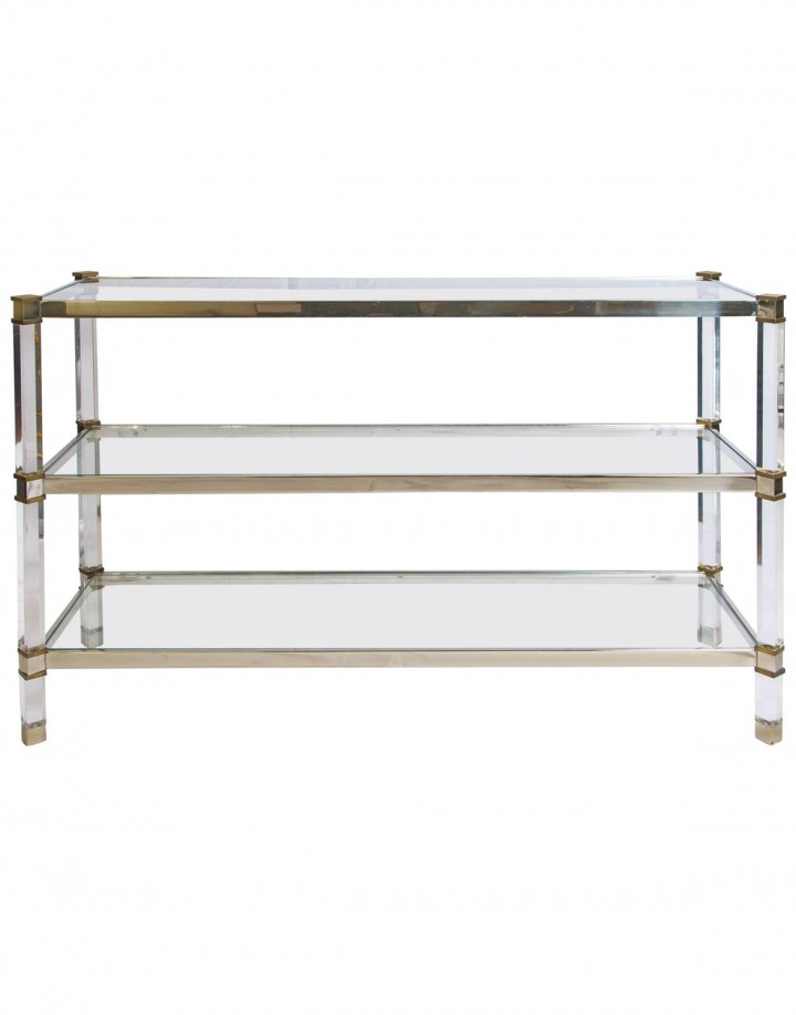 Three-Tier Lucite Brass and Aluminum Console