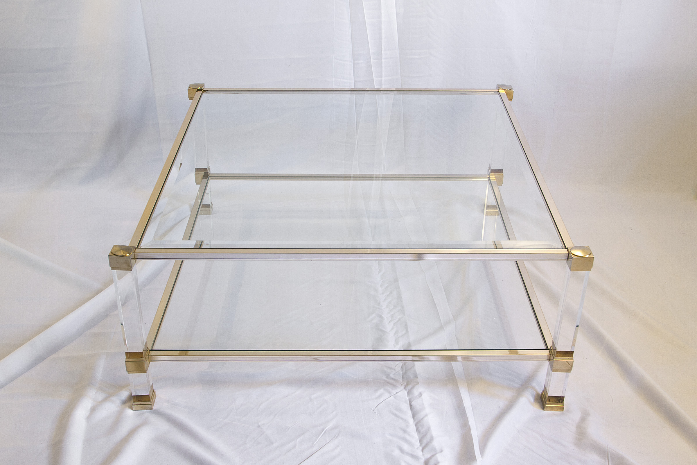 Pierre Vandel Lucite and Brass Coffee Table