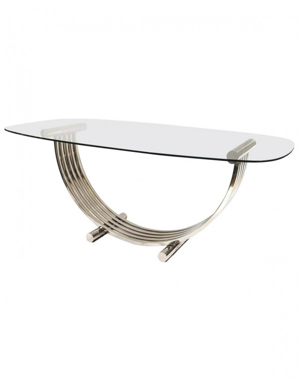 Oval Chrome Dining Table