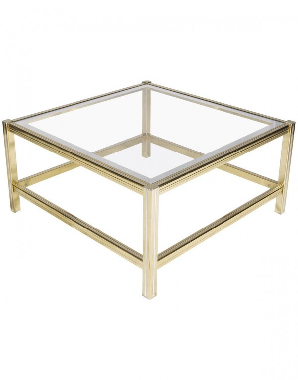 French Mid-Century Brass and Chrome Side Table