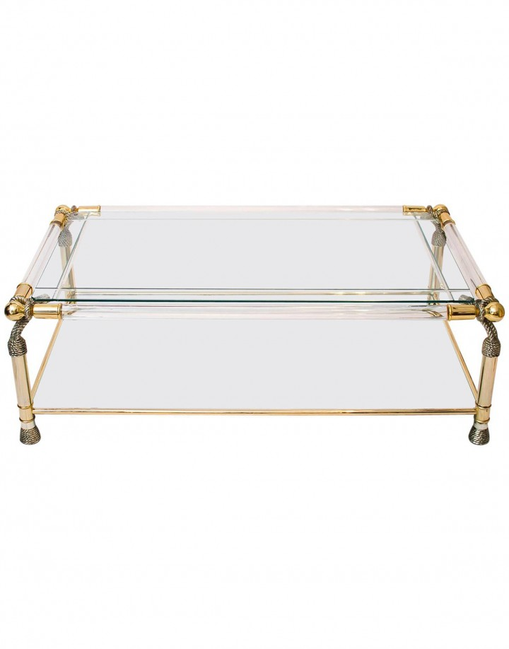 51_Gold Glass and Lucite Coffee Table_00