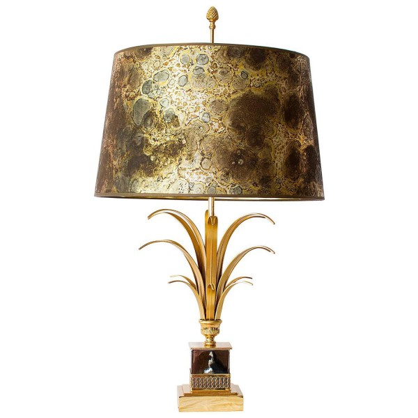 Pineapple Lamp Attributed to Maison Charles with Original Shade
