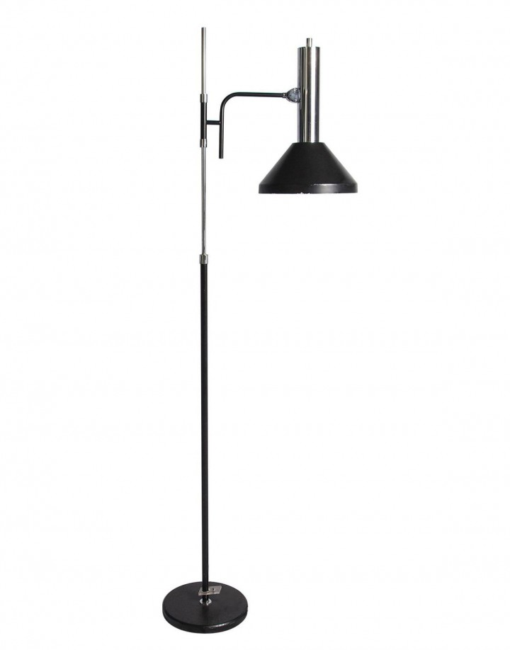 Black and Chrome Adjustable Floor Lamp