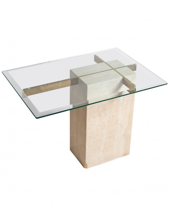 Travertine Side Table Attributed to Giovanni Offredi
