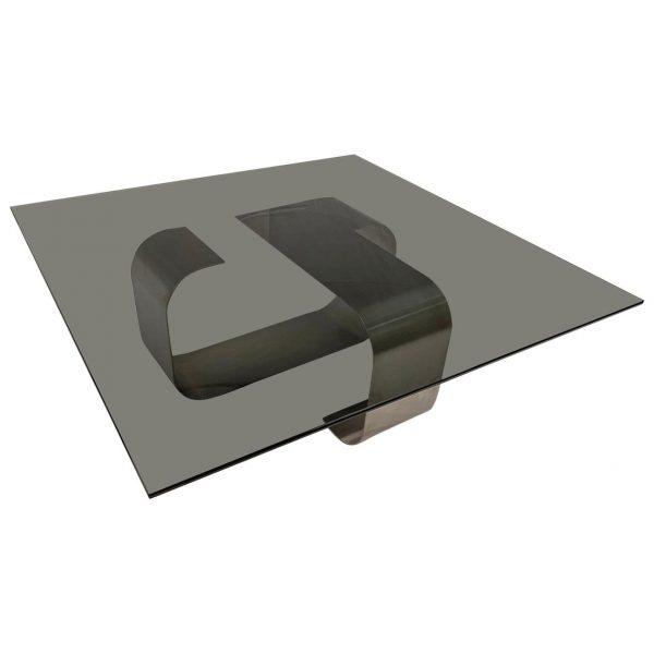 Polished Steel and Smoked Glass Coffee Table